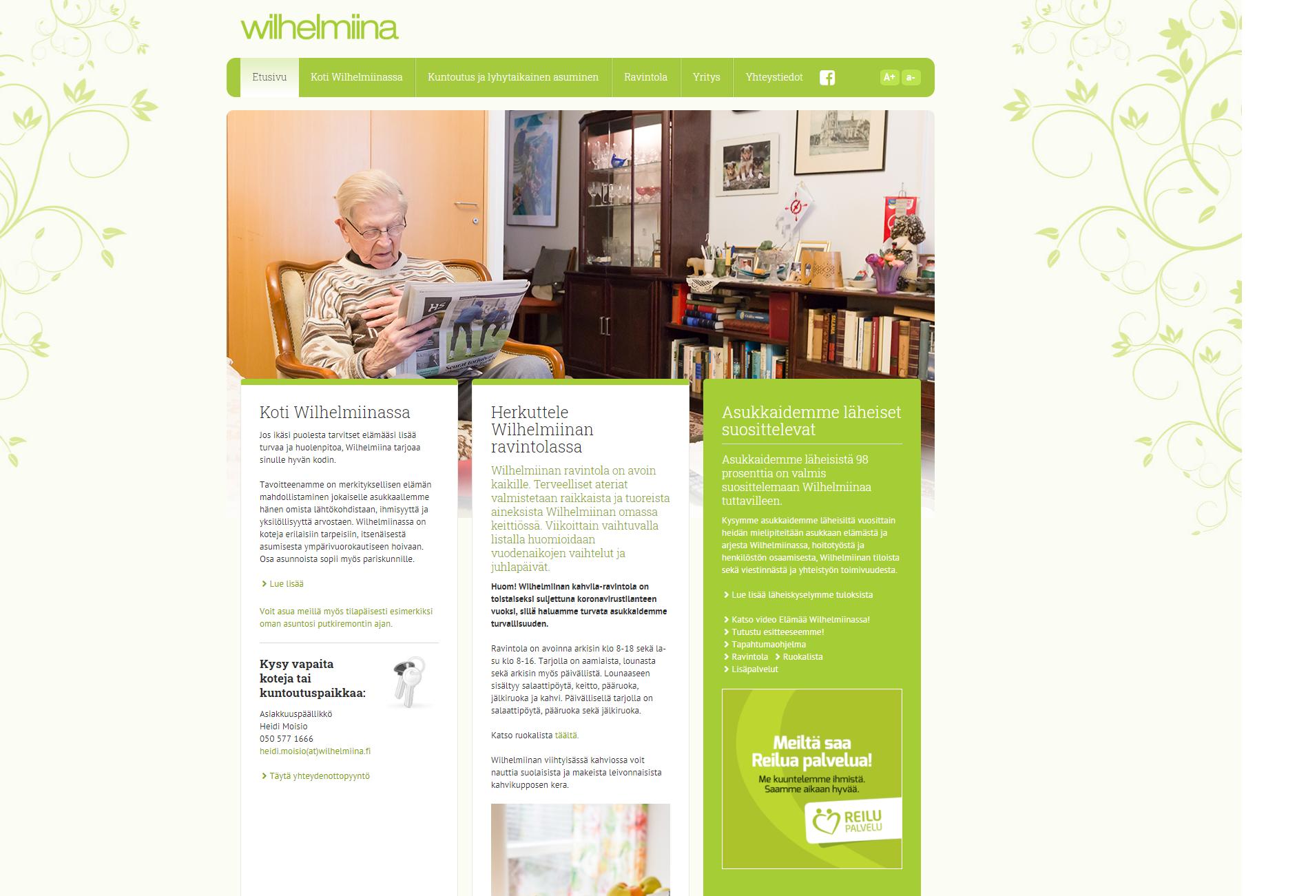 Wilhelmiina nettisivut